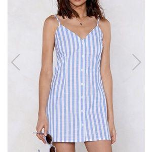 Follow the Buttons Striped Dress